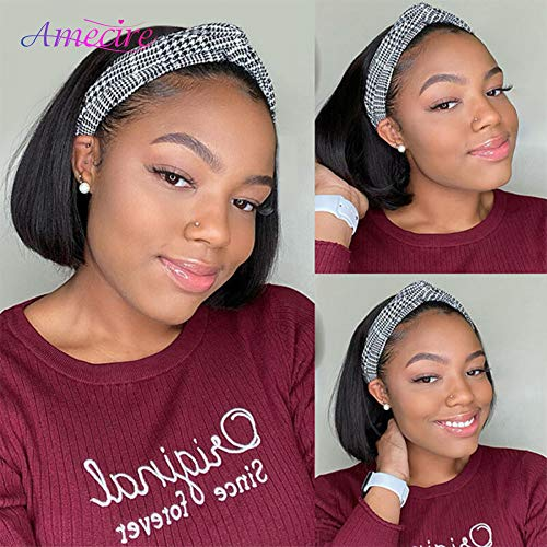 Bob Headband Wig Human Hair Short Bob Wigs For Black Women Glueless None Lace Front Wigs Easy To Wear Full Machine Made Wig 150% Density Brazilian Virgin Human Hair Color 1B(8 Inch)