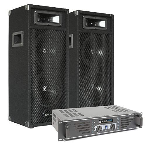 SkyTec DJ luidsprekerset met versterker 500W