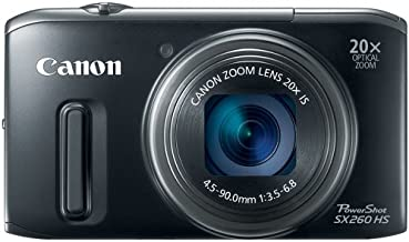 Canon PowerShot SX260 HS 12.1 MP CMOS Digital Camera with 20x Image Stabilized Zoom 25mm Wide-Angle Lens and 1080p Full-HD Video (Black) (OLD MODEL)