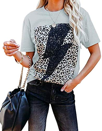 Blusa de manga corta con estampado de leopardo, para mujer, de moda