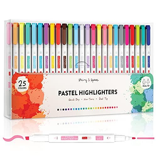 Pastell-Textmarker im 25er Set – Bibel-Textmarker und Stifte, sortierte Farben – Doppelspitze mit einem breiten und einem feinen Textmarker – Pastellfarben für Jahresplaner und zur kreativen Anwendung