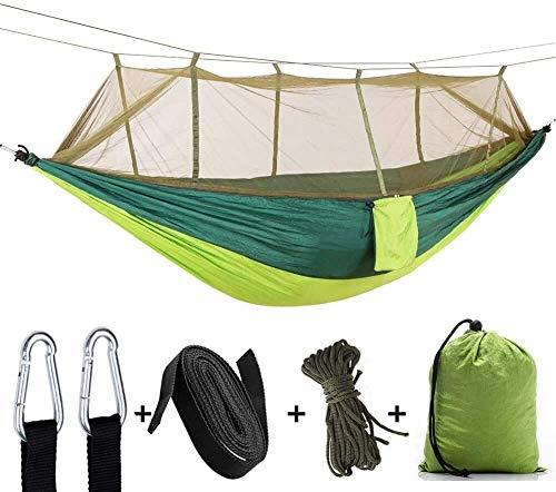 Hamaca para acampada, ultraligera, 200 kg, capacidad de carga transpirable de nailon de secado rápido, para exteriores, interiores, jardín, camping, hamaca (color azul260 x 140 cm) Verde 260 x 140 cm.