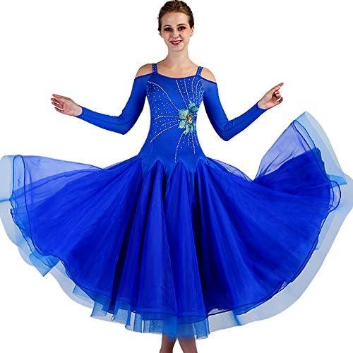 MDWDQ Sling Robe de Perforhommece Compétition Danse Moderne Manches Longues Applique Costumes Salon Valse Robe