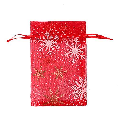 50 Uds., Bolsa de regalo de organza con cordón de Navidad, bolsas de regalo de chocolate con concha de caramelo para boda-02_10X15