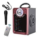 JMFinger - Altavoz Bluetooth portátil con subwoofer, graves ricos inalámbricos estéreo para exteriores e interiores, luces de DJ, micrófono, grabación, MP3/USB/SD, batería recargable integrada