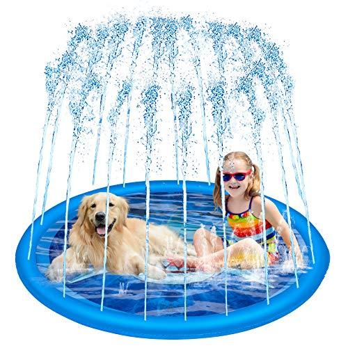 QNINE Splash Play Mat, Shark Theme Splash Pad, 172CM/68' Large Water Splash Pad, Outdoor Splash Pad Sprinkler, Water Mat Sprinkler for Kids Toddlers 3+ Years Old