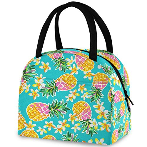 ZzWwR Tropical Cute Pineapples Fashion Reusable Lunch Tote Bag with Front Pocket Zipper Closure Insulated Thermal Cooler Container Bag for Man Women Work Picnic Travel Beach Fishing