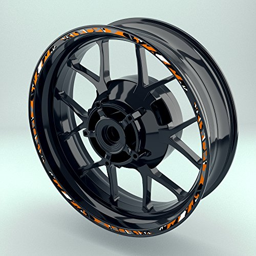 OneWheel Felgensticker für Motorrad   17 Zoll   Komplett Set für Vorder- und Hinterreifen   Rim Sticker (Orange)