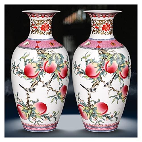 NINGLIU Cerámica China Jingdezhen Cerámica Famille Rose Melocotón Patrón de Patrón de Patrón Adornos China Sala de Estar Vino Gabinete Antiguo Jarrón Decoración para el hogar (Color : Vase x2)
