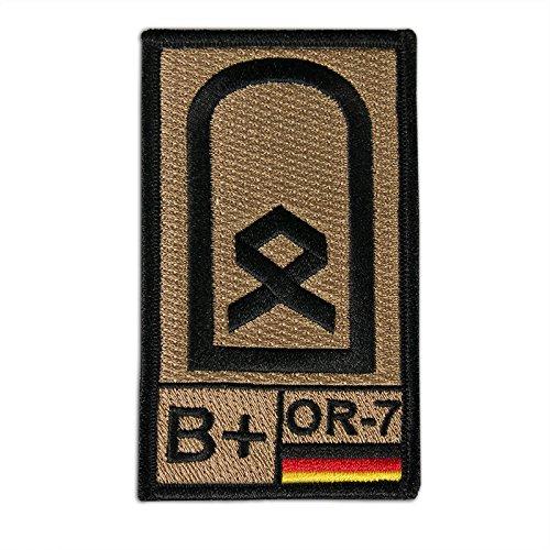 Onuris Bundeswehr Dienstgrad Rangabzeichen Aufnäher Patch m. Blutgruppe u. NATO-Rangcode (Hauptfeldwebel B+)