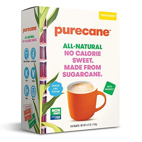 Purecane Zero Calorie Sugar Substitute | Made from All Natural Sugar Cane | Diabetes-friendly | Keto-friendly | Gluten-free | 100 Count Sachets, Purecane, 4.6 Ounce