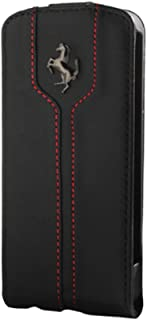 iPhone 4/4s Ferrari Shock-Absorption Leather Book Flap Case -Black FEMTFLBKPMBL