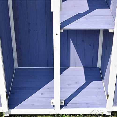 51aKTDU0huL - Außen Locker Balkon Hof Garten Massivholz-Lagerschrank wasserdichte Sonnenschutz Ideale Aufbewahrungsbox für den Außenbereich (Farbe : Blau, Size : 77x58x175cm)