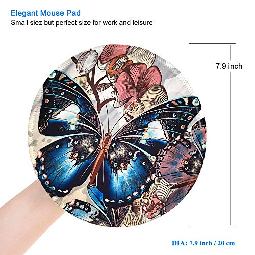 BOSOBO Mouse Pad, Round Butterfly Mouse Mat, Cute Mousepad with Designs, Small Non-Slip Rubber Mouse Pad with Stitched Edges, Customized Mouse Pad for Women Girls Office Computer Laptop Travel Working Photo #3