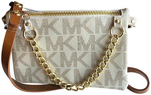 Michael Kors Gürteltasche, Fanny Pack, weiß, 19x12x1 cm, MK-Logo, Goldkette, Druckknöpfe und Reißverschluß, Gr.L