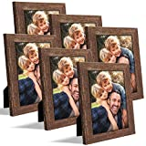 ZIRANLING 5X7 Picture Frame Wood Rustic Brown Set with High Definition Glass for Table Top and Wall Mounting Display(ZRL-5x7-6RB)