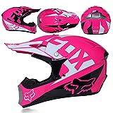 MCRUI Fox Full Face MTB Casco, niños y Adultos, Conjunto de Cascos de Motocross, Gafas Protectoras, máscara, Guantes con cáscara de ABS, Dotación estándar de Seguridad,S