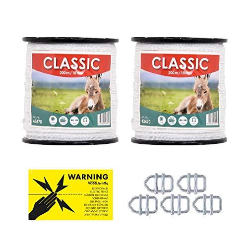 VOSS.farming Weidezaunband 10mm Classic 8 x 0,16 Niro, weiß, Weidezaun und Elektrozaun Band, Elektroband, Pferdezaun, Pferdeband, Ponyzaun, Sparset (400 m)