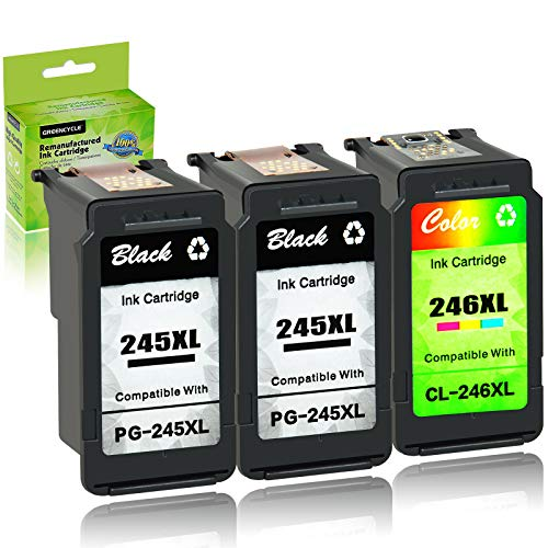 GREENCYCLE Re-Manufactured PG-245XL 245 XL CL-246XL CL-246 Ink Cartridge Compatible for Canon Pixma MX490 MX492 IP2820 MG2420 MG2520 MG2522 MG2525 MG3022 TS302 (Black, 2 Pack; Tri-Color, 1 Pack)
