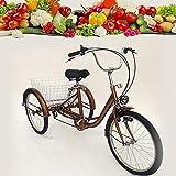 Triciclo para adultos de 24 pulgadas, 6 velocidades, bicicleta de ciudad, 3...