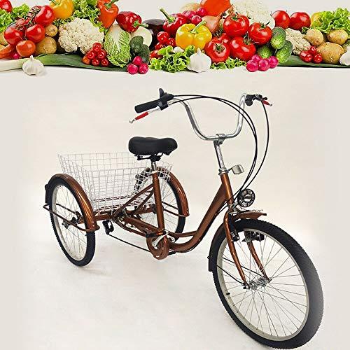 Triciclo para adultos de 24 pulgadas, 6 velocidades, bicicleta de ciudad, 3 ruedas