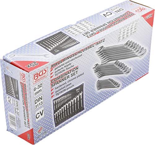 BGS 1196 | Maul-Ringschlüssel-Satz | 25-tlg | SW 6 - 32 mm | inkl Tetron-Rolltasche | Gabelringschlüssel - 5