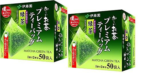 Itoen O ~ i Ocha Premium Matcha Green Tea, Ryokucha de té verde japonés con Matcha Uji, bolsitas de té de 1,8 g, paquete de 2 cajas (100 bolsas en total), fabricado en Japón