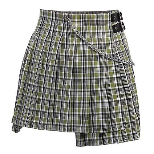 WEDFGX Falda a Cuadros de Cintura Alta asimétrica de lofia Plisada Hebilla de Cadena de Mujer Mini Falda Corta Verano Dulce Faldas Cortas Mujer