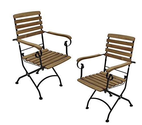 2 Stück Luxus echt Teakholz Klappsessel mit Armlehne Gartenstuhl Klappstuhl
