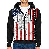 Patriotic Cane Corso Dog USA Flag Men's Full-Zip Up Hoodie Jacket Pullover Sweatshirt Black