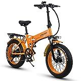HUAKAI R6 20 Pouces Vélo électrique Pliant 350w / 500w 48v 10ah / 12.8ah Batterie Li-ION LG 5 Niveaux (Orange, 350w 12.8ah LG)
