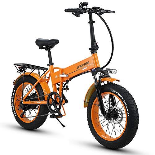 HUAKAI R6 Bici Elettrica Pieghevole da 20 Pollici 350W/500W 48V 10ah/12,8ah Batteria Li-Ion LG 5 Livelli (Arancione, 350w 10ah)