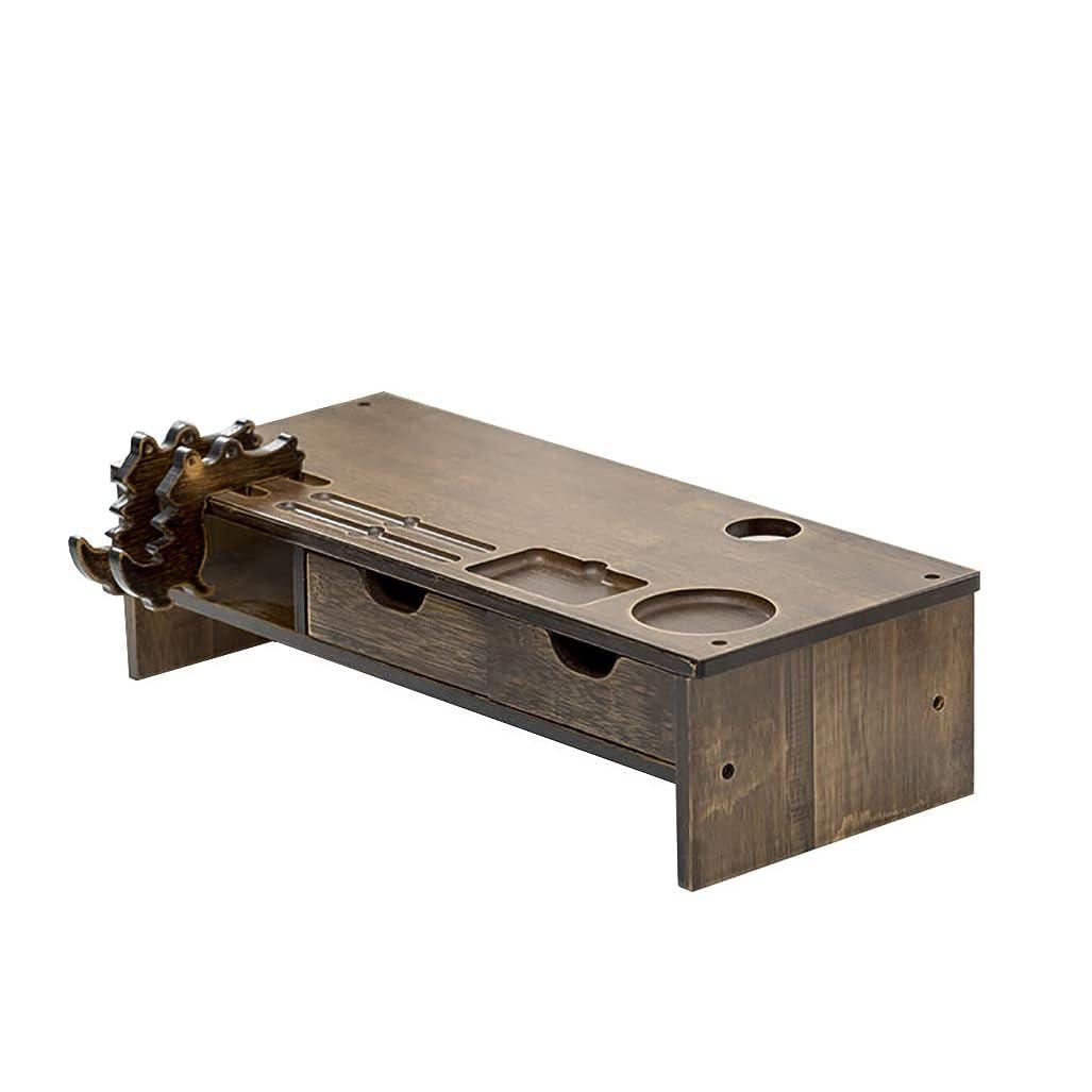 一月逆姪コンピュータモニター高さラック木製シンプルモダンキーボード収納ラックオフィスデスク収納ラック携帯電話ホルダー付き