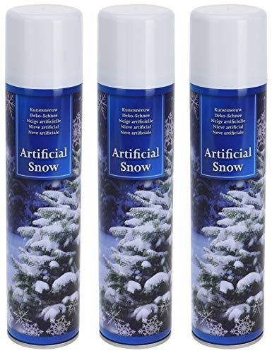 MIK Funshopping 3 Stück Spraydose mit Kunstschnee Dekoschnee Schneespray zum Dekorieren zu Weihnachten, 3X 300ml