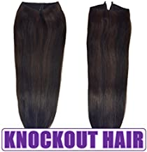 Knockout Hair 16-Inch Halo Hair Extensions, Human, 100 Grams, Natural Black/Dark Brown Mix - P#1B/2-16
