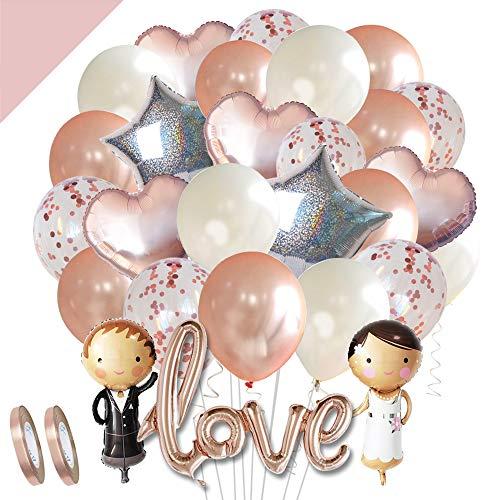 LumeeStar Hochzeits-Ballons Hochzeits-Deko Set Rosegold Love Folienballon Herz-Ballon Konfetti-Ballons Braut Bräutigam für Heiratsantrag Standesamt Verlobung Hochzeitsgeschenk Frisch verheiratet
