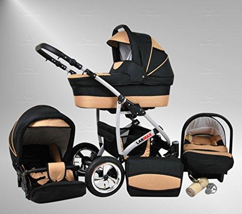 True Love Larmax Kinderwagen Komplettset (Autositz & Adapter, Regenschutz, Moskitonetz, Schwenkräder) 43 Cosmic Black & Sahne