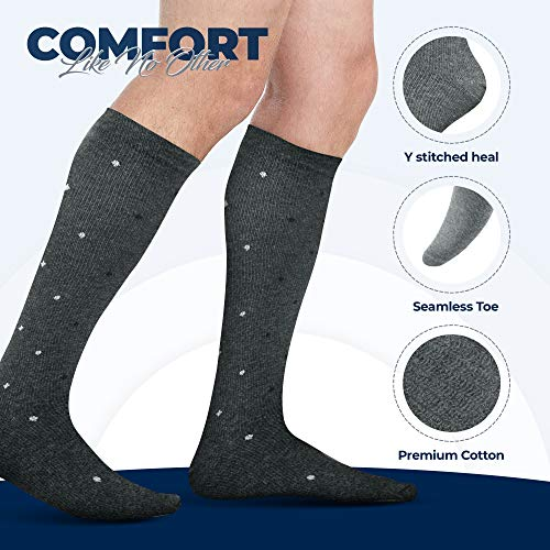 Men's Compression Socks (6-Pack) - Graduated Muscle Support - Athletic or Medical