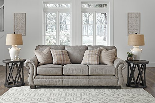 Signature Design by Ashley - Olsberg Traditional Sofa with Nailhead Trim - Accent Pillows Included, Steel