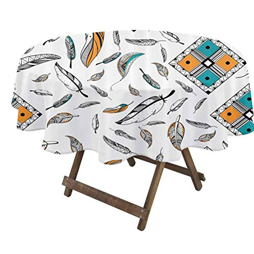 prunushome Feather House Decor Tabletop Cloth Tribal Bohemian Feather Patterns with Geometric Square Vintage Motifs for Christmas/Thanks Giving Dinners Teal Orange | 36' Round