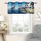 "Hiiiman Elegant Grommet Top Curtain Valances Wild Suchomimus Dinosaur, Set of 1, 42""x18"" Home Decorative for Boys-Girls Room"