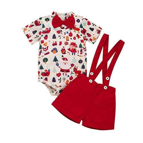 Newborn Infant Baby Boy 1st First Christmas Outfit Santa Claus Printed Cotton Shirt Short Sleeve Romper Bodysuit Suspender Shorts Xmas Party Clothes Set Gentleman Formal Suit Red 12-18 Months