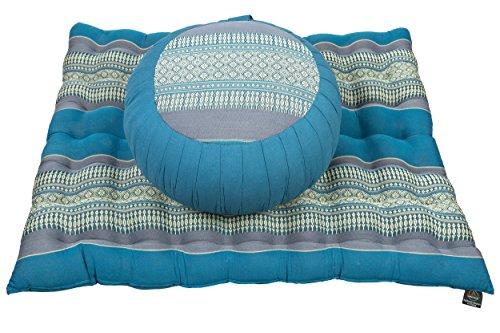 Handelsturm - Set de meditación con relleno de kapok compuesto por cojín de meditación Zafu y esterilla Zabuton para meditación de sentados y yoga, azul