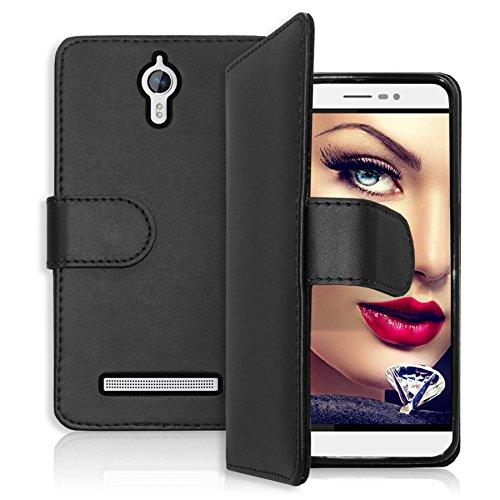 mtb more energy Tasche/Bookstyle Case für Coolpad Porto S (E570, 5.0'') | Schwarz | Kunstleder | Seitlich aufklappbar