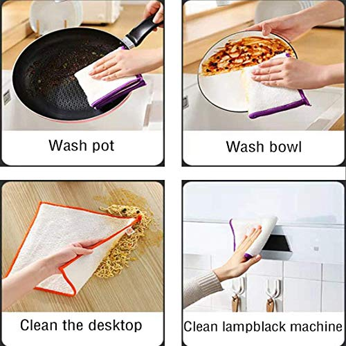 Dishcloths Kitchen Towels Wipes 6-Pack - 100% Natural Bamboo Dish Cloths - Reusable Cleaning Cloths - Super Absorbent - Machine Washable Hand Towels (6 Pack-A-12x11 inch)