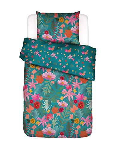 Covers & Co Bettwäsche Flower Power Blumen Bio-Baumwolle Perkal (GOTS) Blau, 135x200 + 1x 80x80 cm