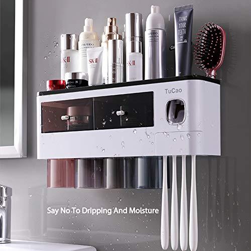 TuCao Automatischer Zahnpastaspender Wand platzsparendem Zahnbürstenhalter für Badezimmer, 4 transparente magnetische Becher, 7 Zahnbürstenschlitze, 1 Kosmetik-Organizer-Schublade (4 Tassen)