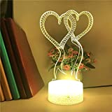 Unique love scarf 3d luz led panel acrílico creativo multicolor lámpara de mesa pequeña luz ambiental luz visual luz nocturna LED luz decorativa preferida