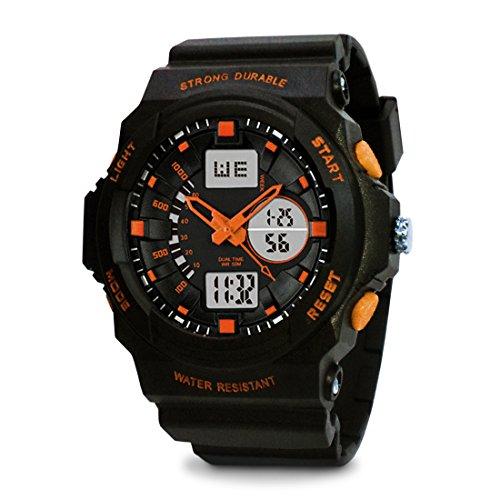 TOPCABIN Jungen Uhren Herren Kinder Armbanduhr Analog Digital Wasserdicht mit Wecker/Timer/LED-Licht/Silikon band,Elektronische Stoßfest Sports Uhren für Jungen Orange