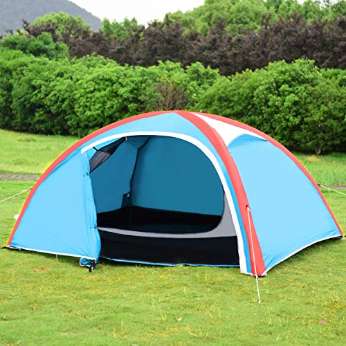 GYMAX Camping Tent, 2-3 Person Inflatable Waterproof Tent with Pump Carry Bag, for Family Outdoor Camping